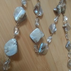 Nwt AMI necklace and earring set mother of pearl